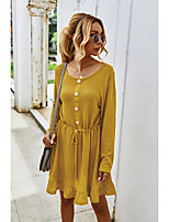 cheap -Women's A-Line Dress Midi Dress - Long Sleeve Solid Color Ruched Fall Casual Daily Loose 2020 Yellow Army Green Gray One-Size