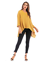 cheap -Women's Blouse Shirt Solid Colored V Neck Tops Basic Basic Top Black Blue Yellow