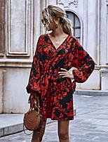 cheap -Women's A-Line Dress Short Mini Dress - Long Sleeve Print Ruffle Patchwork Print Fall V Neck Casual Puff Sleeve Slim 2020 Red S M L XL