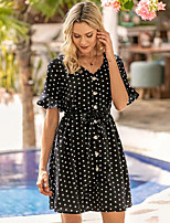 cheap -Women's A-Line Dress Short Mini Dress - Short Sleeve Polka Dot Ruched Patchwork Summer V Neck Casual Going out Slim 2020 Blue S M L XL