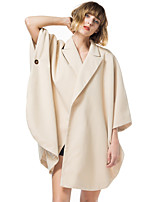 cheap -Women's Single Breasted One-button Cloak / Capes Regular Solid Colored Daily Basic Beige One-Size