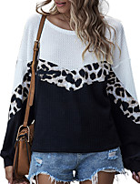 cheap -Women's Going out Blouse Leopard Color Block Long Sleeve Print Round Neck Tops Loose Elegant Sexy Basic Top Black Blue Purple