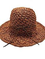 cheap -womens summer straw sun bucket hat floppy packable beach fishing uv protection & #40;w wide brim bow orange& #41;