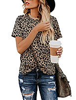 cheap -womens leopard print tops short sleeve round neck casual t shirts tees