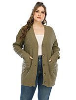 cheap -Women's Solid Color Plain Cardigan Long Sleeve Plus Size Oversized Sweater Cardigans V Neck Fall Winter Army Green