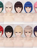 cheap -Synthetic Wig kinky Straight Natural Straight Neat Bang Wig Short A15 A16 A10 A11 A13 Synthetic Hair 11 inch Women's Easy to Carry Natural Middle Part Bob Red