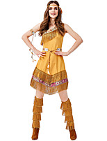 cheap -Indian Girl Dress Cosplay Costume Outfits Adults' Women's Cosplay Halloween Halloween Festival / Holiday Polyester Yellow Women's Easy Carnival Costumes / Belt / Headwear / Swing Arm / Swing Arm