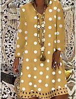 cheap -Women's Shift Dress Knee Length Dress - Long Sleeve Polka Dot Print Spring Fall V Neck Casual Loose 2020 Blue Purple Yellow Khaki Gray S M L XL XXL 3XL