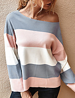 cheap -Women's Sweater Patchwork Crew Neck Stripes Sport Athleisure Top Long Sleeve Warm Soft Oversized Comfortable Everyday Use Exercising General Use