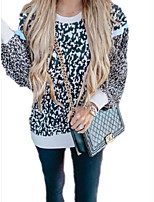 cheap -Women's Daily Pullover Sweatshirt Leopard Cheetah Print Casual Hoodies Sweatshirts  Navy Blue