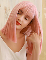 cheap -Synthetic Wig Straight Yaki Straight Side Part Neat Bang With Bangs Wig Medium Length Pink Green Ombre Blonde Synthetic Hair 18 inch Women's Cosplay Party Adorable Pink Green BLONDE UNICORN