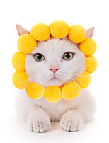 cheap -Dog Cat Hats, Caps & Bandanas Bandanas & Hats Flower / Floral Cat Headwarmers Headpieces Christmas Party Dog Clothes Yellow Costume Cotton / Birthday / Halloween