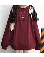 cheap -Women's Daily Pullover Sweatshirt Letter Basic Hoodies Sweatshirts  Cotton Loose Black Wine / Going out