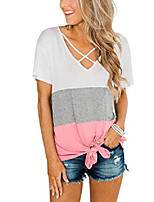 cheap -women's criss cross shirts color block short sleeve t shirts knotted tops pink