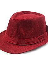 cheap -simple design plain color linen fedora brim hat ffh267red