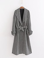cheap -Women's Fall & Winter Coat Long Houndstooth Daily Basic Black S M L