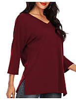 cheap -Women's T-shirt Solid Colored V Neck Tops Loose Basic Basic Top Black Blushing Pink Wine