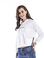 cheap -Women's Daily Cropped Hoddie Letter Basic Hoodies Sweatshirts  Loose White