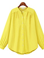 cheap -Women's Work Blouse Shirt Solid Colored Long Sleeve Round Neck Tops Loose Cotton Basic Basic Top Yellow Light Blue