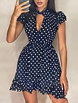 cheap -Women's A-Line Dress Short Mini Dress - Short Sleeve Polka Dot Ruffle Summer V Neck Sexy Going out Slim 2020 Black S M L XL