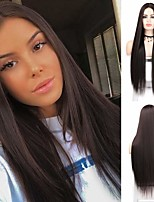 cheap -Synthetic Wig Natural Straight Middle Part Wig Long Brown Synthetic Hair 28 inch Women's Party Wedding Middle Part Brown