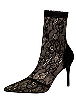 cheap -Women's Heels Stiletto Heel Pointed Toe Sexy Party & Evening Lace Solid Colored Mesh Mid-Calf Boots Black