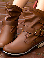 cheap -Women's Boots Cuban Heel Round Toe Casual Basic Daily Solid Colored PU Booties / Ankle Boots Walking Shoes Black / Brown