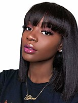 cheap -Remy Human Hair Wig Medium Length Natural Straight Short Bob With Bangs Natural Black Fashionable Design Natural Best Quality Capless Brazilian Hair Women's Girls' Natural Black 12 inch
