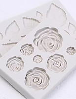 cheap -2pcs Rose Flower Leaf Set Fondant Silicone Mold Decorating Cake Baking Tools
