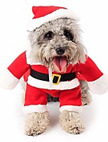 cheap -dog christmas costumes pet cat clothes sweater small dog santa suite with hat xmas jumpsuit dress