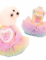 cheap -small dog puppy summer dress lace tutu cute princess rainbow skirt clothes for birthday party wedding