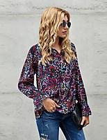 cheap -Women's Blouse Floral Long Sleeve Print V Neck Tops Basic Basic Top Black Blue Fuchsia
