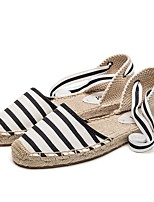 cheap -Women's Sandals Flat Heel Round Toe Sweet Daily Striped Canvas Black / White / Black / Red / White / Blue