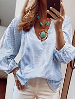 cheap -Women's Blouse Solid Colored Long Sleeve Lace Patchwork V Neck Tops Loose Cotton Basic Basic Top Blue