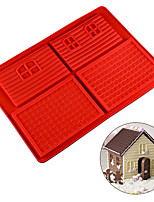 cheap -Silicone Chocolate Christmas Cookie Candy Molds Gingerbread House Reusable