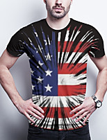 cheap -Men's Daily Plus Size T-shirt Graphic National Flag Print Short Sleeve Tops Basic Round Neck Red / Sports