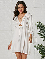 cheap -Women's A-Line Dress Knee Length Dress - Long Sleeve Solid Color Ruffle Spring Summer V Neck Casual Going out Flare Cuff Sleeve Slim 2020 White S M L XL XXL
