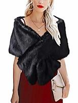 cheap -women's faux fur shawls and wraps wedding faux fox fur stole bridal fur scarf for bride and bridesmaids jh-fb3-changmaozong-l brown fur