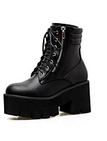 cheap -Women's Boots Wedge Heel Round Toe Casual Punk & Gothic Daily Lace-up Solid Colored PU Booties / Ankle Boots Black