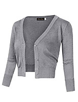 cheap -women's casual 3/4 sleeve button down open front knit cropped cardigan sweater (2xl, white