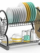 cheap -dish drying rack,  201 stainless steel 2 tier dish rack with drain board, utensil holder, cutting board holder, rustproof dish drainer for kitchen countertop, black
