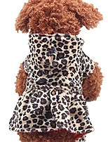cheap -puppy clothing, pet dog leopard hoodie coat lovely warm apparl outfit (brown, m)