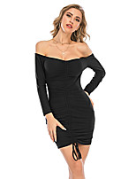 cheap -Women's Sheath Dress Short Mini Dress - Long Sleeve Solid Color Ruched Fall Winter Off Shoulder Sexy Daily Slim 2020 Black S M L XL XXL