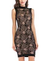 cheap -Women's A-Line Dress Short Mini Dress - Sleeveless Color Block Embroidered Mesh Summer Sexy Party Club Slim 2020 Black S M L XL