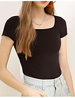 cheap -Women's Going out Blouse Shirt Solid Colored Square Neck Tops Slim Cotton Elegant Basic Top White Black Light Green