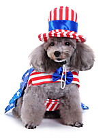cheap -Dog Halloween Costumes Costume Shirt / T-Shirt National Flag Birthday Fashion Christmas Party Dog Clothes Breathable Blue Costume Polyester S M L XL