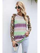 cheap -Women's T-shirt Leopard Color Gradient Cheetah Print Long Sleeve Print Round Neck Tops Loose Basic Basic Top Blue Purple Red