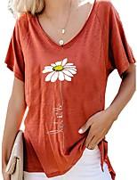 cheap -Women's Blouse Shirt Floral Flower Sunflower Print V Neck Tops Loose Basic Basic Top Red Yellow Green