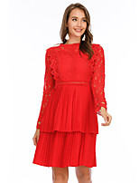cheap -Women's Shift Dress Knee Length Dress - Long Sleeve Solid Color Lace Summer Casual Elegant Slim 2020 Red S M L