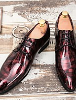 cheap -Men's Summer / Fall Daily Oxfords Leather Wine / Black / Green